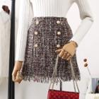 Fringed Tweed Mini A-line Skirt