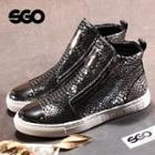 Genuine Leather Snake-print Ankle Boots