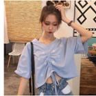 Elbow-sleeve Embroidered Flower Drawstring T-shirt