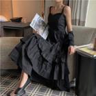 Strappy Tiered Midi A-line Dress Black - One Size