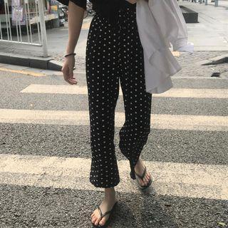Dotted Chiffon Pants Black - One Size