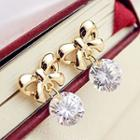 Ribbon Rhinestone Drop Earrings