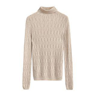 Turtleneck Pointelle Knit Top