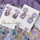 Matte Bow Rhinestone Dangle Earring 1 Pair - Bow - Purple - One Size