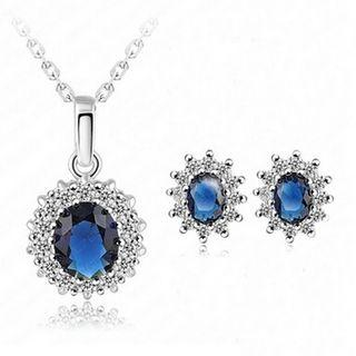 Set: Rhinestone Pendant Necklace + Earring Silver - One Size