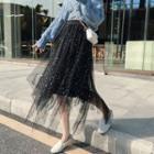 Midi Sequined Mesh Skirt