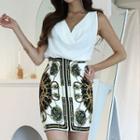 Set: Sleeveless Shirt + Mini Patterned Sheath Skirt