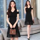 Chiffon Panel Cold Shoulder A-line Dress