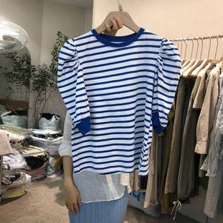 Contrast-trim Short-sleeve Striped Top