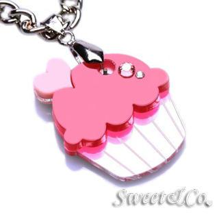 Sweet&co Mini Silver-fuchsia Cupcake Crystal Necklace Silver - One Size