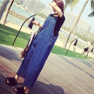 Maxi Denim Pinafore Dress