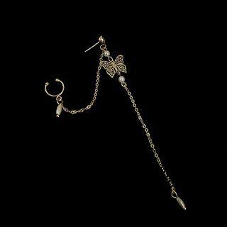 Alloy Butterfly Faux Pearl Chained Earring Single - Gold - One Size