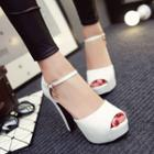 Ankle Strap Peep-toe Pumps