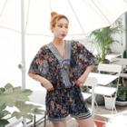 Set: V-neck Floral Print Top + Shorts