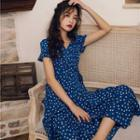 Dotted Short-sleeve Maxi A-line Dress
