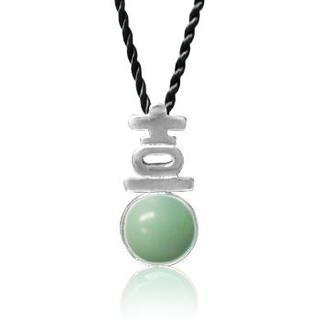 Amazonite Pendant With Silk Cord
