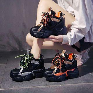 Color Panel Platform Hidden-wedge Sneakers