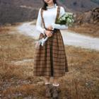 Plaid A-line Midi Jumper Skirt Light Maroon - One Size