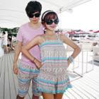 Couple Set: Patterned Bikini + Playsuit / Beach Shorts