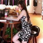 Halter Backless Floral Sheath Dress