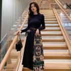 Patterned Long-sleeve Accordion Pleat Midi Dress