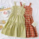 Ruffled-trim Plaid Sleeveless Mini Dress