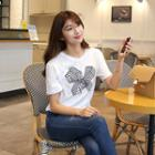 Short-sleeve Velvet-ribbon Print T-shirt