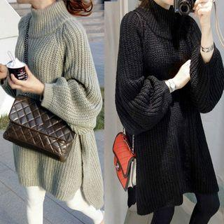 Mock-neck Slit-side Long Sweater