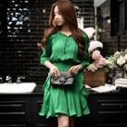 3/4-sleeve Drawstring Ruffle Dress