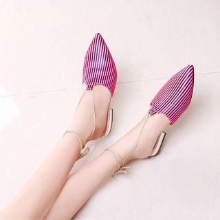 Faux-leather Lace-up Flat Sandals