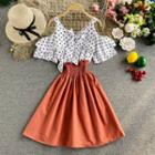 Cold-shoulder Dotted Chiffon Panel Dress
