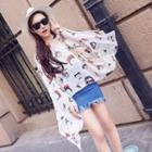 Cartoon Print Chiffon Shawl