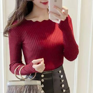 Scalloped-neck Knit Top