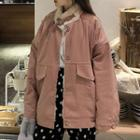 Furry-lined Snap Button Jacket