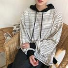 Long Sleeve Striped Hooded Pullover