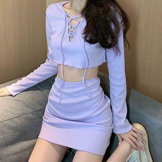 Set: Long-sleeve Lace-up Crop Top + Mini Skirt