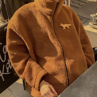 Faux Shearling Stand Collar Zip Jacket