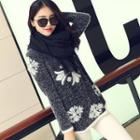 Printed Furry Knit Sweater