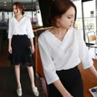 Plain 3/4 Sleeve V-neck Chiffon Shirt