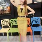 Set: Sleeveless Lace Top + Pencil Skirt