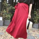 Satin A-line Midi Wrap Skirt