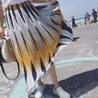 Patterned Chiffon Maxi Skirt
