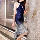 Halter Sequined Mermaid Evening Gown
