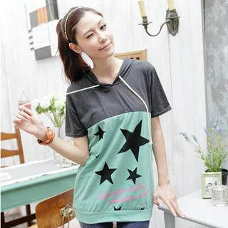 Hooded Star-print Pullover