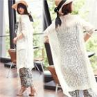 Pointelle-knit Long Cardigan