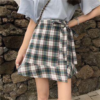 Plaid Side Lace-up A-line Skirt