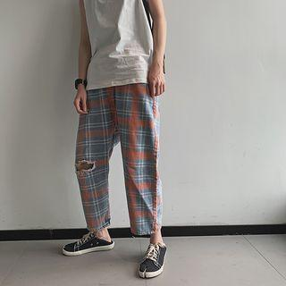 Plaid Ripped Straight-cut Jeans
