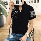 Print Stand-collar Short-sleeve T-shirt