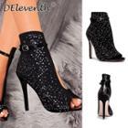 High Heel Peep Toe Rhinestone Sandals