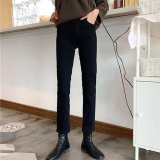 High-waist Plain Slim-fit Jeans